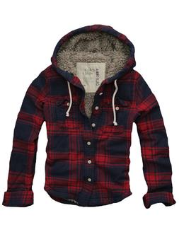 $128 Mens CALI HOLI Muscle Fit Faux Fur Flannel Check Hoodie