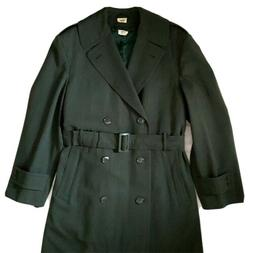 Vintage 36R Small Mens Military Army Trench Coat Overcoat Li