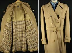 44R Vintage Wool Trench Coat by EUROPE CRAFT Overcoat Top Ta