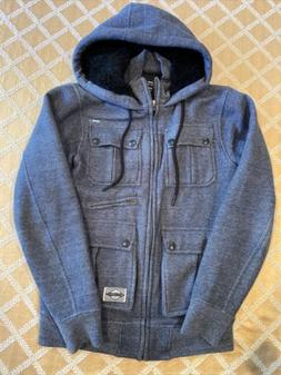 BILLABONG GREY JACKET WITH ZIPPER AND HOODIE WITH SHERPA LIN