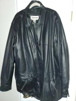 Black Leather Coat with zipper and buttons king size 3xl EUC