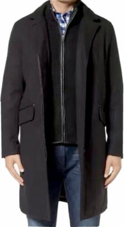 COLE HAAN Black Mens XXL Wool Blend Overcoat with Knit Sweat
