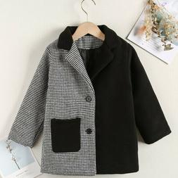 Boys Houndstooth Print Lapel Collar Single Breasted Overcoat