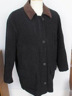 Jos. A. Bank Mid Length Overcoat Charcoal Gray Lined Button