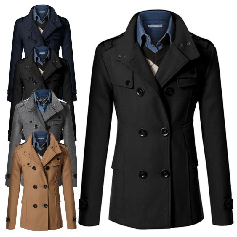 men double breasted trench coat winter outwear