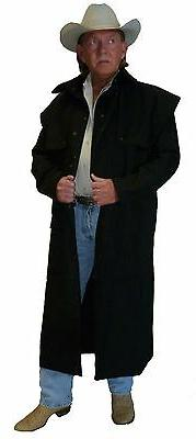 NEW WESTERN COWBOY CAPED CANVAS DUSTER  SADDLE COAT