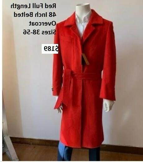 red full length belted wool overcoat nwt
