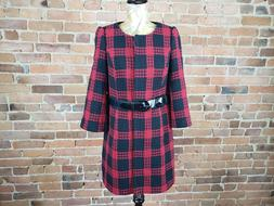 Ann Taylor Loft Red and Black Plaid Belted Coat Size 6