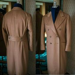 Men Camel Wool Overcoat Double-breasted Long Jacket With Bac