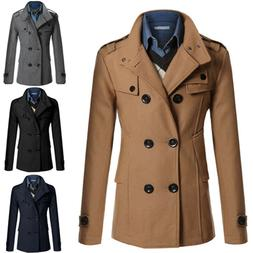 Men Double Breasted Trench Coat Business Outwear Jacket Over