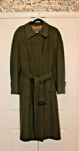 BURBERRY Men's Olive Wool Coat ~ Silk Lined ~ with Garment B