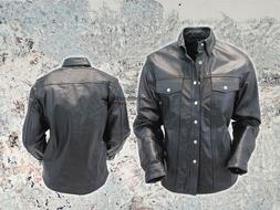 Men's Soft Black Leather Slim Fit Full Sleeve Button up Shir