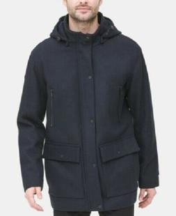 DKNY Men's Wool Coat with Removable Hood, Navy Blue, Size M,
