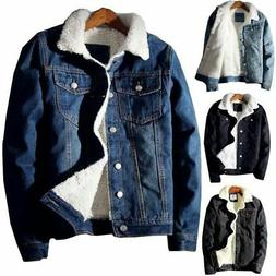Mens Cotton Sherpa Lined Denim Jacket Classic Thicken Jean T