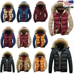 Mens Fur Lined Padded Parka Coat Quilted Winter Warm Zip Jac