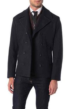 Michael Kors Mens L Navy George Double Breasted Dickey Coat