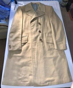 Vintage Mens Tan Camel Full Length Double-Breasted Overcoat