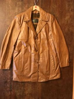 Mens VINTAGE Brown Leather Jacket Coat 42 Tall The Leather S