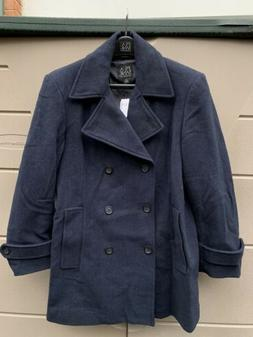 New Jos A Bank Executive Double Breasted Peacoat Overcoat Bl
