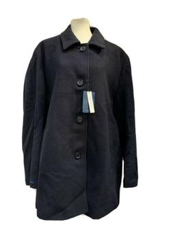 New Cole Haan Navy Single Breasted Wool Carcoat Jacket Overc