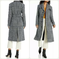 NEW Cole Haan Signature Houndstooth Plaid Belted Coat NWT WO