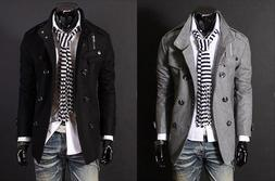 US Seller Military Style Peacoat Casual Slim Fit Double Brea