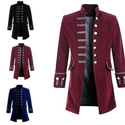 Victorian Men Frock Coat Steampunk Long Jacket Gothic  Party