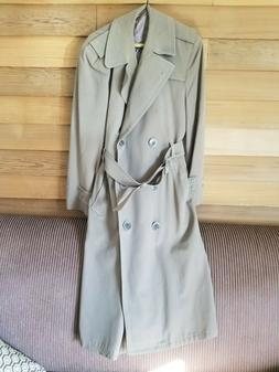 Vintage 60's Men's Brown Serge Long Military Overcoat with B