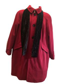 London Fog Women's Size 2X Red All-Weather Overcoat. Built